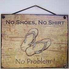 No Shoes Shirt Problem Sign Beach Party Sandals Store Service House Bar Tiki USA