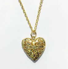 Gold  filigree  heart locket with gold plated brass chain , heart locket pendant