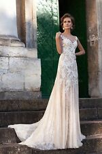 Vintage Sheath/Column Wedding Dress Jewel Court Train Lace Appliques Bridal Gown