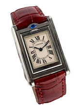AUTH CARTIER Red Crocodile Stainless Steel Sapphire Tank Basculante Wrist Watch