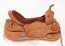 "USED 16"" COMFY TOOLED NATURAL LEATHER WESTERN PLEASURE TRAIL RANCH HORSE SADDLE"