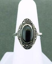 Silvertone and Black Enamel Ring Size 7