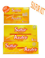 SULFUR KIT SOAP OINTMENT POMADA ACNE TREATMENT BARS/JABON AZUFRE PARA ACNE GRISI