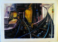 ORIGINAL PRINTArthur Robins Oil Painting NYC cityscape New York SUBWAY train NR