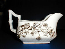 Brown White Transfer Aesthetic DAISY Clover Staffordshire Gravy Boat Weatherby