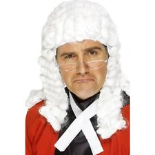 Mens Judge Wig Fancy Dress Costume White Rolls Court Barrister Long Stag Funny