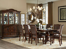 AVENITA - 9pcs Traditional Cherry Brown Rectangular Dining Room Table Chairs Set