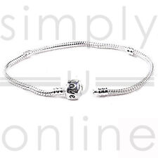 925 Silver Snake Charm Bracelet With Snap Clasp Beads Barrel Bracelets Bangle