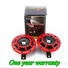 2 Pcs 12 V Red Grille Mount Super Tone Loud 139 DB Compact Electric Horn Kit New