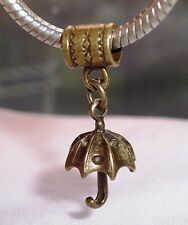 3D Umbrella Bronze Tone Dangle Bead Jewelry Gift for European Charm Bracelets