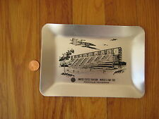 vintage 1982 Worlds Fair Knoxville TN METAL PLATE silver dish tray retro modern