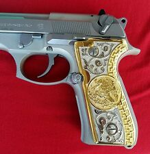 "Beretta ""Mexican Eagle  92fs 96 9mm 40 cal German Silver Grips 24kt Gold/plated"