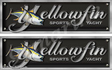 """Two Yellowfin Imitation Name Plate decal set. 10""""x3"""" each"""