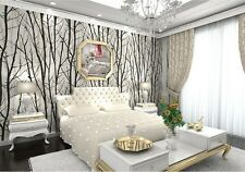 Forest Woods Trees Wallpaper Embossed Viny Black White Mural Wall Stick