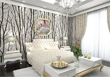 Forest Woods Trees Wallpaper Embossed Viny Black White Mural Wall Decor Rolls
