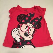 DISNEY Minnie Mouse red black t-shirt top Baby girls clothes 3-6 Months