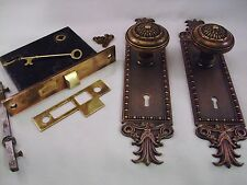 Antique Cast Brass Door Knob Set Mortise Lock Key Door Set   2 sets avail. #674