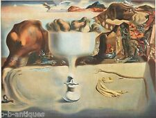 "1960 Art Print ""Apparition of Face & Fruit Dish On A Beach"" by Dali  Free Ship"