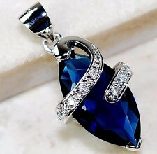 4CT Blue Sapphire & White Topaz 925 Solid Genuine Sterling Silver Pendant
