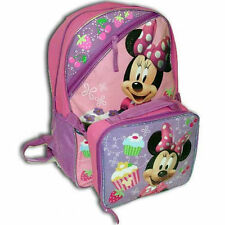"Backpack 16"" + Detachable Lunch Bag Disney Minnie Pink + Cup Cake Prints New"
