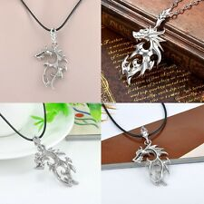 HOT Silver Stainless Steel Dragon Pendant Men Necklace With Leather Chain