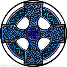 STAINED GLASS WINDOW ART - STATIC CLING  DECORATION -CELTIC CROSS IN BLUE