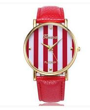 GENEVA BRAND STRIPE DESIGN LEATHER WOMEN WRIST  WATCH -RED - FREE SPARE BATTERY