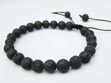Men's Shamballa bracelet all 8mm BLACK FIRE ROCK LAVA STONE beads