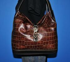 DOONEY & BOURKE Brown Croco Embossed 'Logo Lock' Leather Satchel Bag Tote Purse