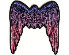 "(B55) Small PINK ANGEL WINGS 2.75"" x 3"" iron on patch (2648) Biker Vest"