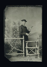 1880s Tintype Young Dany, Walking Stick or Cane and Rustic Fence Photograph