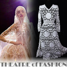 VINTAGE 70s DRESS LACE WEDDING INDIAN 10 12 14 16 WHITE CROCHET BOHO VICTORIAN