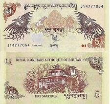 Bhutan P28, 5 Ngultrum, Dragons,Palace (the tiger's nest) / mythical bird - 2008