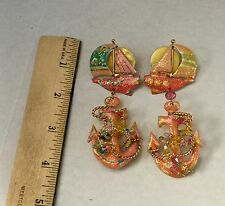 "VINTAGE LUNCH AT THE RITZ EARRINGS  ""ANCHORS AWAY"" SIGNED-DATED 1986"