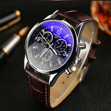 Luxury Fashion Faux Leather Hot Watch Mens Blue Ray Glass Quartz Analog Watches