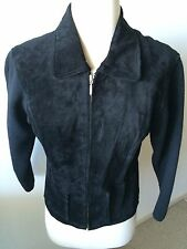 Erez Levy Black Suede and Knit Zippered Jacket Women's M Excellent Condition!