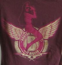 B for Burton Airlines Fly Higher Ladies Pullover Shirt Pinup Snowboard Size S