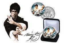 Bruce Lee-Ltd Edition tintados Kennedy JFK medio dólar moneda Con Certificado De Autenticidad