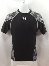 Under Armour Mens Black Gray Heat Gear Compression Short Sleeve Shirt Size L Lge