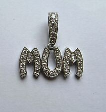 925 Sterling Silver Cubic Zirconia Mum Pendant