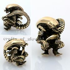 Custom Bead XENOMORPH Paracord Bracelet Lanyard Brass Beads ALIEN Jewelry EDC