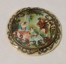 Larger French CELLULOID with inlaid metal scrollwork compact - circa 1920s