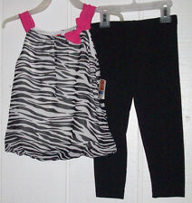 CLOSEOUT * NEW HealthTex TODDLER girl 2pc Zebra tunic& Black leggings Sz 3T