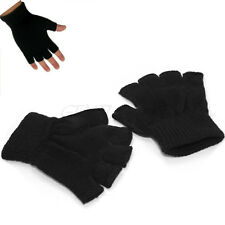 Men Black Knitted Stretch Elastic Warm Half Finger Fingerless Gloves for Winter