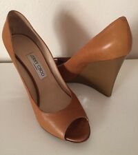 Jimmy Choo Brown Peep Toe Wedge Shoes Size 9.5