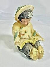 Antique ? Chinese Alabaster Soapstone School Girl Painted Carved Statue Figurine