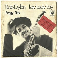 """BOB DYLAN LAY LADY LAY ULTRA RARE ISRAEL ONLY PS 7"""" 45 HEBREW COVER"""