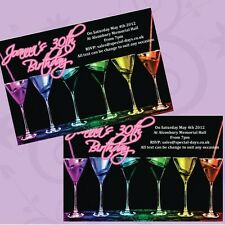 10 x Personalised Birthday Invitations 18th 21st 30th 40th Neon Cocktail JEC0136