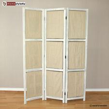 3 fach Paravent Raumteiler Holz Trennwand grau washed Taschen Ablagen