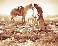 OLD WEST COWBOY CATTLE HAND VINTAGE PHOTO HORSE ANTELOPE 1890 8x10 #21916